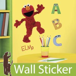 ウォールステッカー セサミストリートエルモ 半透明 かわいい ルームメイツ RoomMates シール のり付き 貼ってはがせる 壁紙シール 子供部屋|wallstickershop
