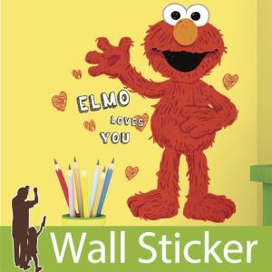 ウォールステッカー セサミストリート エルモラブズユー 半透明 かわいい ルームメイツ RoomMates 貼ってはがせる 壁紙シール 子供部屋|wallstickershop