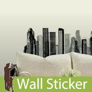 ウォールステッカー モノクロ シティスケープ 半透明 かわいい きれい 北欧 ルームメイツ RoomMates 壁紙シール リビング|wallstickershop
