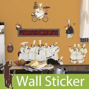 ウォールステッカー コック ワイン シェフ 半透明 かわいい きれい 北欧 ルームメイツ RoomMates 壁紙シール リビング|wallstickershop