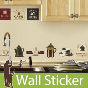 ウォールステッカー カフェ コーヒー コーヒーハウス 半透明 かわいい 北欧 ルームメイツ RoomMates 壁紙シール キッチン リビング|wallstickershop