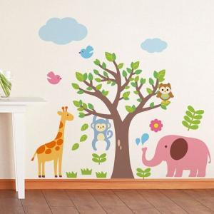 ウォールステッカー 壁 木 アニマル 動物園 貼ってはがせる のりつき 壁紙シール ウォールシール 植物 木 花|wallstickershop