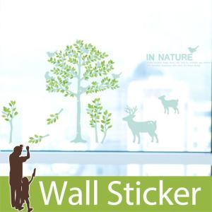 ウォールステッカー 木 北欧 かわいい 動物 葉っぱ ツリー 鳥 鹿 貼ってはがせる 子供部屋 リビング インテリア シール のり付き おしゃれ|wallstickershop