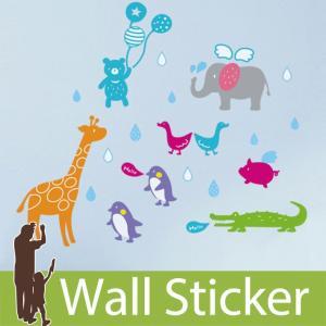 ウォールステッカー 動物 アニマル かわいい 北欧 ペンギン ゾウ くま カラフル 貼ってはがせる リビング インテリア シール のり付き おしゃれ|wallstickershop