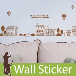 ウォールステッカー かわいい 貼ってはがせる 気球と街並み 北欧 木 ツリー 家 英字 アルファベット シンプル トイレ ウォールデコ 簡単リメイク|wallstickershop