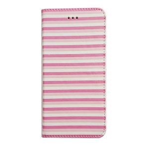 アウトレット iPhone6Plus 6sPlusケース ecoskin ピンクボーダー アイフォンプラス フリップ カード収納 スタンド 磁石不使用|wallstickershop