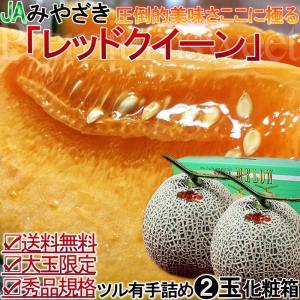 赤肉メロン 宮崎県産 レッドクイーン 2玉 化粧箱 秀品 プレミアムレッド 最上級 クインシー ルピアを超える最上級の味わい
