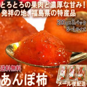 あんぽ柿 干し柿 約200g×3パック 福島県産 贈答可能 メール便配送 本場、福島県の特産品!とろりとした果肉に濃厚な甘みのドライフルーツ
