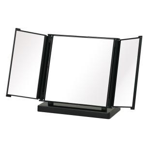 ○広げると幅約33cmにもなる、広いミラー面の卓上ミラーです。○三面鏡なのでお顔全体や横顔もしっかり...