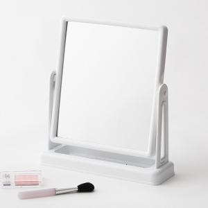 ○お顔全体がしっかり映るミラーサイズ。○角度調節可能で、ベース部分の収納トレイにはメイク用品やアクセ...