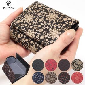 印傳屋 印伝 札入れ レディース 二つ折り財布 2215 女性 ボックス開き二つ折財布|wamonoya-inden