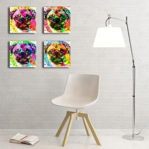 【Emotions】 パグ Sサイズ×4枚セット ワンにゃんアートキャンバス (絵画/アート/犬)|wan-nyan-gallery