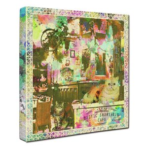 【EXOTIC SHORTHAIR CAFE】 エキゾチックショートヘア Sサイズ ワンにゃんアートキャンバス Cafe series (絵画/猫/インテリア雑貨/グッズ) wan-nyan-gallery