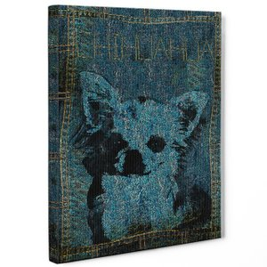 【stain & stitch】 チワワ Lサイズ ワンにゃんアートキャンバス Denim series (絵画/アートパネル/犬)|wan-nyan-gallery
