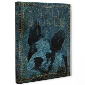 【stain & stitch】 フレンチブルドッグ Lサイズ ワンにゃんアートキャンバス Denim series (絵画/アートパネル/犬)|wan-nyan-gallery