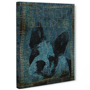 【stain & stitch】 フレンチブルドッグ Sサイズ ワンにゃんアートキャンバス Denim series (絵画/アートパネル/犬)|wan-nyan-gallery