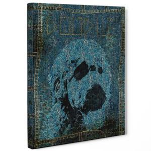 【stain & stitch】 ドゥードル Mサイズ ワンにゃんアートキャンバス Denim series (絵画/アートパネル/犬) wan-nyan-gallery