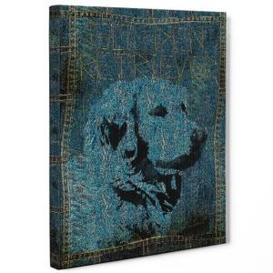 【stain & stitch】 ゴールデンレトリバー Mサイズ ワンにゃんアートキャンバス Denim series (絵画/アートパネル/犬)|wan-nyan-gallery