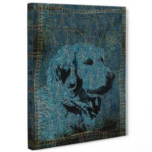 【stain & stitch】 ゴールデンレトリバー Sサイズ ワンにゃんアートキャンバス Denim series (絵画/アートパネル/犬)|wan-nyan-gallery