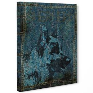 【stain & stitch】 シェパード Lサイズ ワンにゃんアートキャンバス Denim series (絵画/アートパネル/犬)|wan-nyan-gallery