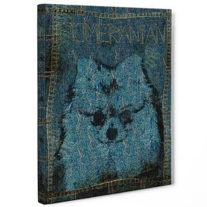 【stain & stitch】 ポメラニアン Lサイズ ワンにゃんアートキャンバス Denim series (絵画/アートパネル/犬)|wan-nyan-gallery