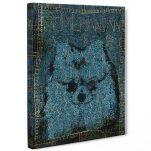 【stain & stitch】 ポメラニアン Sサイズ ワンにゃんアートキャンバス Denim series (絵画/アートパネル/犬)|wan-nyan-gallery