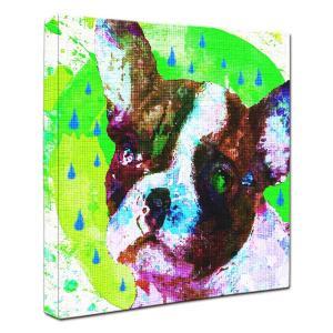 【Emotions -green-】 フレンチブルドッグ Sサイズ ワンにゃんアートキャンバス (絵画/犬/インテリア雑貨/グッズ)|wan-nyan-gallery