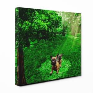 【木漏れ陽】 フレンチブルドッグ Lサイズ ワンにゃんアートキャンバス Forest series (絵画/アートパネル/犬)|wan-nyan-gallery