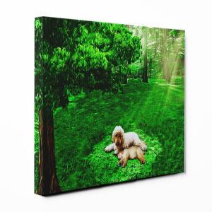 【木漏れ陽】 ゴールデンドゥードル Sサイズ ワンにゃんアートキャンバス Forest series (絵画/アートパネル/犬) wan-nyan-gallery