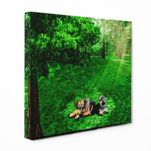 【木漏れ陽】 ジャーマンシェパードドッグ Lサイズ ワンにゃんアートキャンバス Forest series (絵画/アートパネル/犬)|wan-nyan-gallery