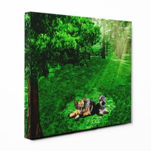 【木漏れ陽】 ジャーマンシェパードドッグ Mサイズ ワンにゃんアートキャンバス Forest series (絵画/アートパネル/犬)|wan-nyan-gallery