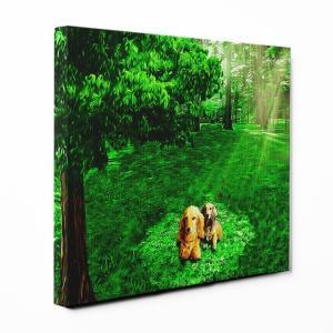 【木漏れ陽】 ミニチュアダックスフンド Lサイズ ワンにゃんアートキャンバス Forest series (絵画/アートパネル/犬)|wan-nyan-gallery