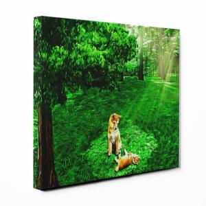 【木漏れ陽】 柴犬 Lサイズ ワンにゃんアートキャンバス Forest series (絵画/アートパネル/犬)|wan-nyan-gallery