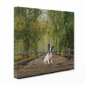 【Forest summer】 フレンチブルドッグ Mサイズ ワンにゃんアートキャンバス  (絵画/アートパネル/犬/森/緑)|wan-nyan-gallery