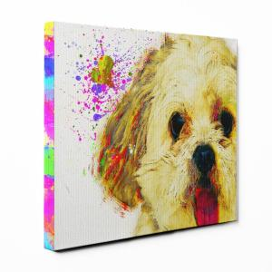 【Watch】 マルチーズ Sサイズ ワンにゃんアートキャンバス Huge series (絵画/アート/犬)|wan-nyan-gallery