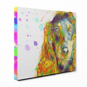 【Watch】 ミニチュアダックスフンド Lサイズ ワンにゃんアートキャンバス Huge series (絵画/アート/犬)|wan-nyan-gallery