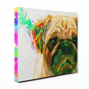 【Watch】 パグ Sサイズ ワンにゃんアートキャンバス Huge series (絵画/アート/犬)|wan-nyan-gallery
