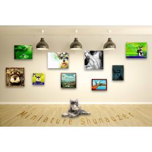 【ミニチュアシュナウザー -Interior SML 3Package-】 ワンにゃんアートキャンバス  S×1 M×1 L×1 の3点セット (絵画/犬/インテリア雑貨)|wan-nyan-gallery