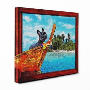 【Rest】 フレンチブルドッグ Mサイズ ワンにゃんアートキャンバス Ocean series (絵画/風景画/犬)|wan-nyan-gallery