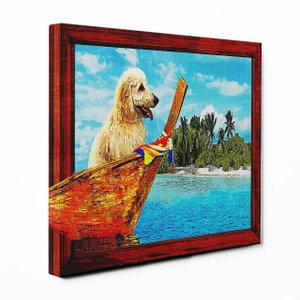 【Rest】 ゴールデンドゥードル Lサイズ ワンにゃんアートキャンバス Ocean series (絵画/風景画/犬) wan-nyan-gallery
