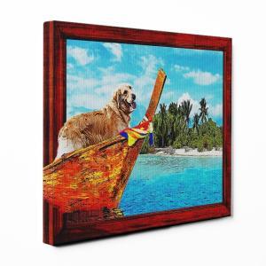 【Rest】 ゴールデンレトリバー Mサイズ ワンにゃんアートキャンバス Ocean series (絵画/風景画/犬)|wan-nyan-gallery