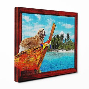 【Rest】 ゴールデンレトリバー Sサイズ ワンにゃんアートキャンバス Ocean series (絵画/風景画/犬)|wan-nyan-gallery
