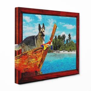 【Rest】 ジャーマンシェパードドッグ Lサイズ ワンにゃんアートキャンバス Ocean series (絵画/風景画/犬)|wan-nyan-gallery