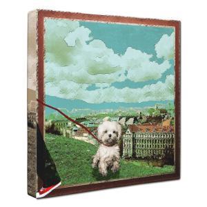 【Take it easy】 マルチーズ Sサイズ ワンにゃんアートキャンバス Osanpo series (絵画/犬/インテリア雑貨/グッズ)|wan-nyan-gallery