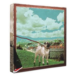 【Take it easy】 パグ Lサイズ ワンにゃんアートキャンバス Osanpo series (絵画/犬/インテリア雑貨/グッズ)|wan-nyan-gallery