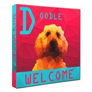 【WELCOME】 ドゥードル Sサイズ ワンにゃんアートキャンバス Polygon series (絵画/犬/インテリア雑貨/グッズ) wan-nyan-gallery