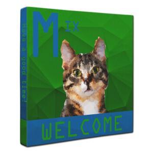 【WELCOME】 ミックス Sサイズ ワンにゃんアートキャンバス Polygon series (絵画/猫/インテリア雑貨/グッズ)|wan-nyan-gallery