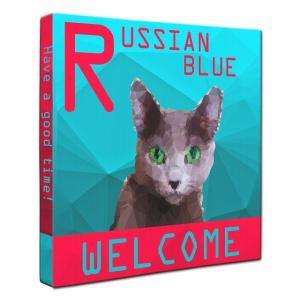 【WELCOME】 ロシアンブルー Lサイズ ワンにゃんアートキャンバス Polygon series (絵画/猫/インテリア雑貨/グッズ)|wan-nyan-gallery