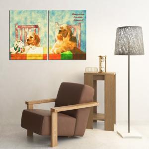 【Retro】 アメリカンコッカースパニエル Lサイズ×2枚セット ワンにゃんアートキャンバス (絵画/アート/犬)|wan-nyan-gallery