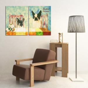 【Retro】 ボストンテリア Lサイズ×2枚セット ワンにゃんアートキャンバス (絵画/アート/犬)|wan-nyan-gallery